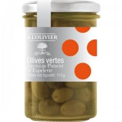 Groene gevulde olijven met espelette peper 115g