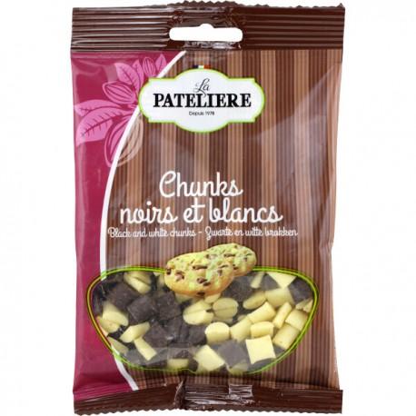 Zwarte en witte chocolade stukjes 100g