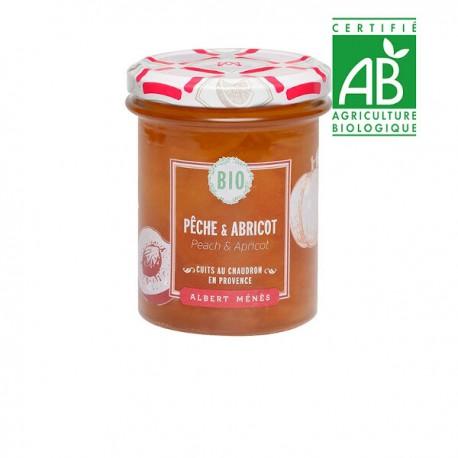 BIO Confiture Extra de Pêche et d'Abricot 230 g                           Disponible au 1er juillet 2020